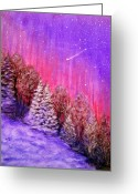 Snowy Night Greeting Cards - Purple Dream  Greeting Card by Irina Astley