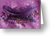 Claire Copley Greeting Cards - Purple Fairy Feather Greeting Card by Pixie Copley