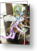 Wind Sculpture Greeting Cards - Purple fairy with green ball Greeting Card by Heather  Whitney