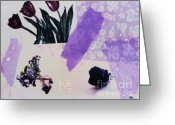 Purples Greeting Cards - Purple Floral Collage Greeting Card by Marsha Heiken