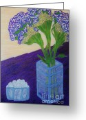 Flovers Greeting Cards - Purple Flowers and Ice Greeting Card by Jasna Gopic