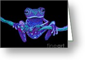 Vines Mixed Media Greeting Cards - Purple Ghost Frog Greeting Card by Nick Gustafson