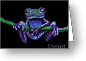 Vines Mixed Media Greeting Cards - Purple Green Ghost Frog Greeting Card by Nick Gustafson
