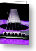 Varnish Greeting Cards - Purple Guitar 15 Greeting Card by Andee Photography