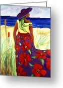 South Carolina Beach Painting Greeting Cards - Purple Hat Greeting Card by Diane Britton Dunham