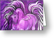 Horse Art Giclee Greeting Cards - Purple Horse Greeting Card by Leni Tarleton