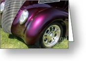 Automobile Hood Greeting Cards - Purple Hot Rod Greeting Card by Sophie Vigneault