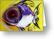 Tropical Fish Greeting Cards - Purple Jacket on Yellow Greeting Card by J Vincent Scarpace
