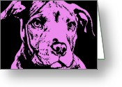 Pit Bull Greeting Cards - Purple Little Pittie Greeting Card by Dean Russo