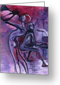 Mood Art Painting Greeting Cards - Purple Mood Greeting Card by Toni  Thorne