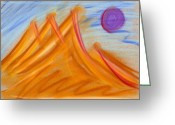 Expressive Pastels Greeting Cards - Purple Moon Greeting Card by Hakon Soreide