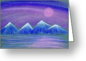 Ocean Landscape Pastels Greeting Cards - Purple Night 3 Greeting Card by Hakon Soreide