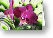 Gouache Mixed Media Greeting Cards - Purple Orchid Greeting Card by Hai Pham