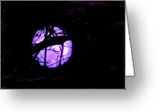 Storm Digital Art Greeting Cards - Purple Painted Moon Greeting Card by Nancy TeWinkel Lauren
