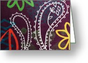 West Indian Mixed Media Greeting Cards - Purple Paisley Garden Greeting Card by Linda Woods