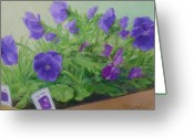 Sunflower Studio Art Greeting Cards - Purple Pansies Colorful Original Oil Painting Garden Art Greeting Card by K Joann Russell