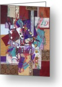 Squares Tapestries - Textiles Greeting Cards - Purple Passion Greeting Card by Sue Gilliam
