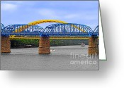 Carter Greeting Cards - Purple People Bridge and Big Mac Bridge - Ohio River Cincinnati Greeting Card by Christine Till