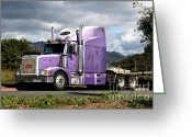 Isabel Greeting Cards - Purple Peterbilt Big Rig Truck . 7D15085 Greeting Card by Wingsdomain Art and Photography