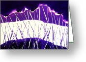 Purples Greeting Cards - Purple Rain Abstract Greeting Card by Marsha Heiken