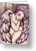 White And Purple Wings Greeting Cards - Purple rain Greeting Card by Margie Forestier