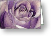Fine Art - Still Lifes Greeting Cards - Purple Rose Greeting Card by Enzie Shahmiri