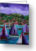 Tropical Beach Painting Greeting Cards - Purple Skies Over St. John Greeting Card by Patti Schermerhorn