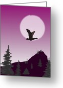 Sunset Greeting Cards Mixed Media Greeting Cards - Purple Sky Greeting Card by Anastasiya Malakhova