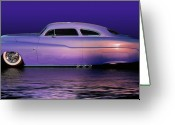 Guys Greeting Cards - Purple Sled Greeting Card by Bill Dutting