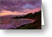 ; Maui Greeting Cards - Purple sunset of Makena Little Beach Maui Hawaii Greeting Card by Pierre Leclerc