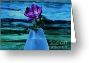 Digitalized Greeting Cards - Purple Tea Rose Greeting Card by Marsha Heiken
