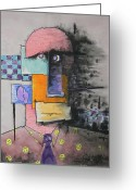 Figurative Mixed Media Greeting Cards - Purple Tie Greeting Card by Teddy Campagna