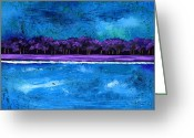 Studio Glass Art Greeting Cards - Purple Trees on the Shore Greeting Card by EJ Lefavour