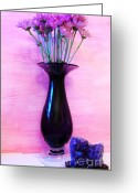 Geode Greeting Cards - Purple Vase Greeting Card by Marsha Heiken