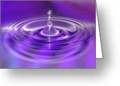 Claire Copley Greeting Cards - Purple Water Drop Greeting Card by Pixie Copley