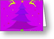Noel Greeting Cards - Purple Xmas Greeting Card by Atiketta Sangasaeng