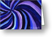 Purples Greeting Cards - Purples Blues Swirl Greeting Card by Marsha Heiken