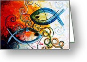 Jesus Art Painting Greeting Cards - Purposeful Ichthus by Two Greeting Card by J Vincent Scarpace