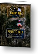 Metal Greeting Cards - Push To Talk Greeting Card by Bob Orsillo