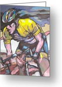 Athletic Painting Greeting Cards - Pushing it to the Limit Greeting Card by Sandy Tracey