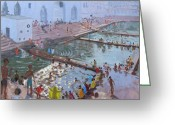 Divine Greeting Cards - Pushkar ghats Rajasthan Greeting Card by Andrew Macara