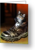 Kittens Digital Art Greeting Cards - Puss in Boot Greeting Card by Julie L Hoddinott