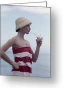 Hand On Hip Greeting Cards - Pussyfooting Greeting Card by Slim Aarons