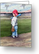 Child Greeting Cards - Put Me In Coach  Greeting Card by Sam Sidders