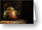 Food And Beverage Art Greeting Cards - Put The Kettle On Greeting Card by Lois Bryan