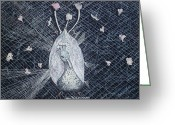 Albino Peacock Greeting Cards - Puttin on the Ritz Greeting Card by Joy Braverman