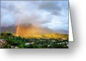 Topaz Greeting Cards - Puu Alii with Rainbow Greeting Card by Dan McManus