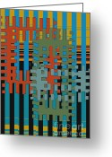 Horizontal Lines Digital Art Greeting Cards - Puzzled Greeting Card by Ben and Raisa Gertsberg