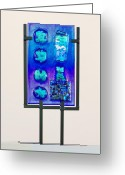 Stones Glass Art Greeting Cards - Puzzlestones and Other Oddities Greeting Card by Mark Lubich