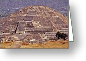 Staircase Greeting Cards - Pyramid of the Sun - Teotihuacan Greeting Card by Juergen Weiss